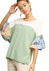 Colorblock Paisley Layered Sleeve Top, Sage