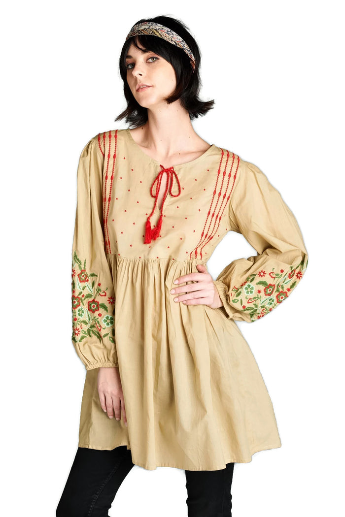 Floral Embroidered Peasant Dress, Mocha