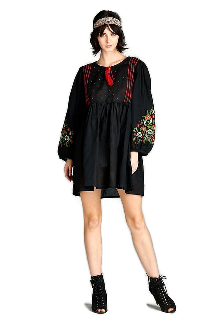 Floral Embroidered Peasant Dress, Black