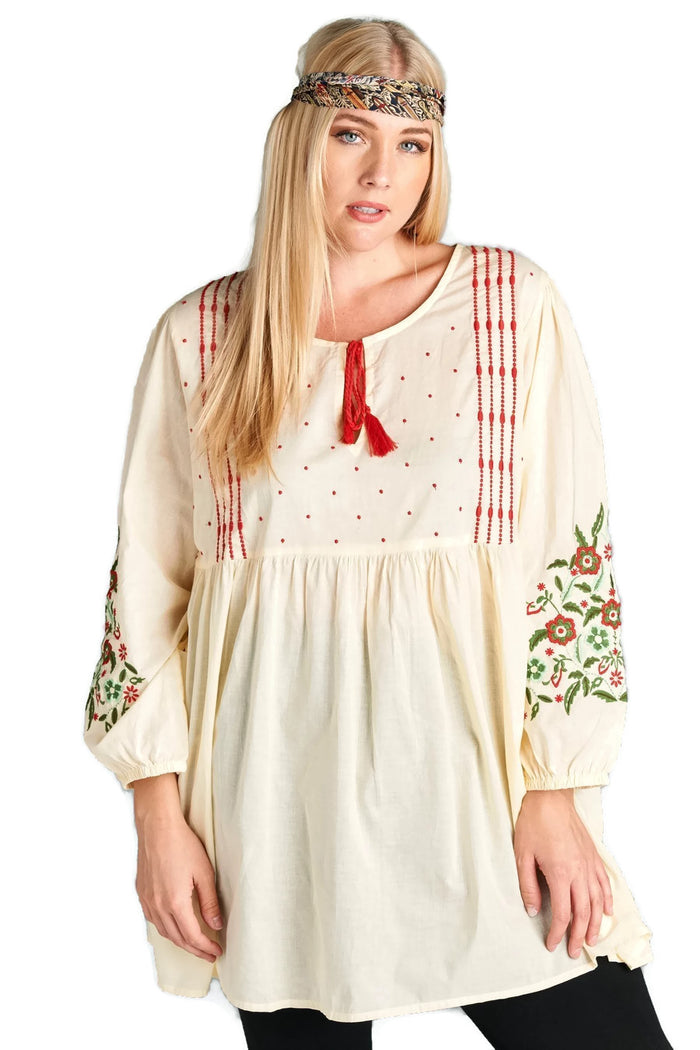 Floral Embroidered Peasant Dress, Cream