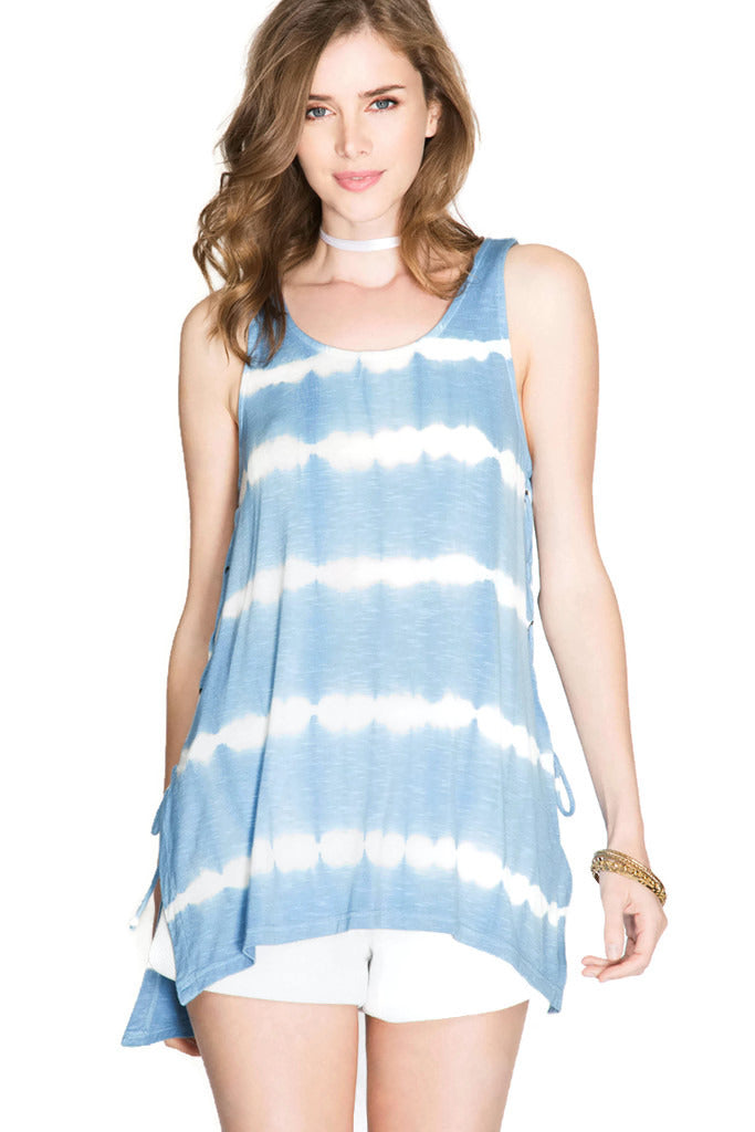 Tie Dye Slub Knit Tank Top with Lace Up Sides, Blue