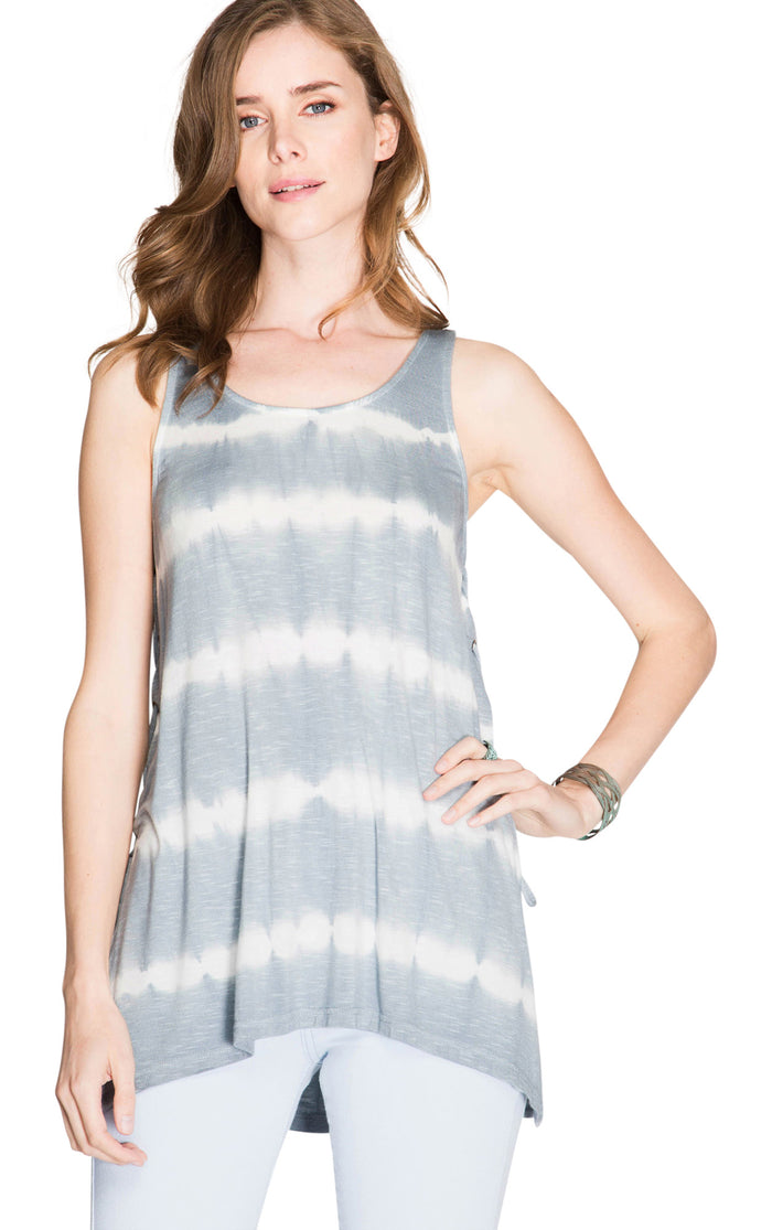 Tie Dye Slub Knit Tank Top with Lace Up Sides, Grey