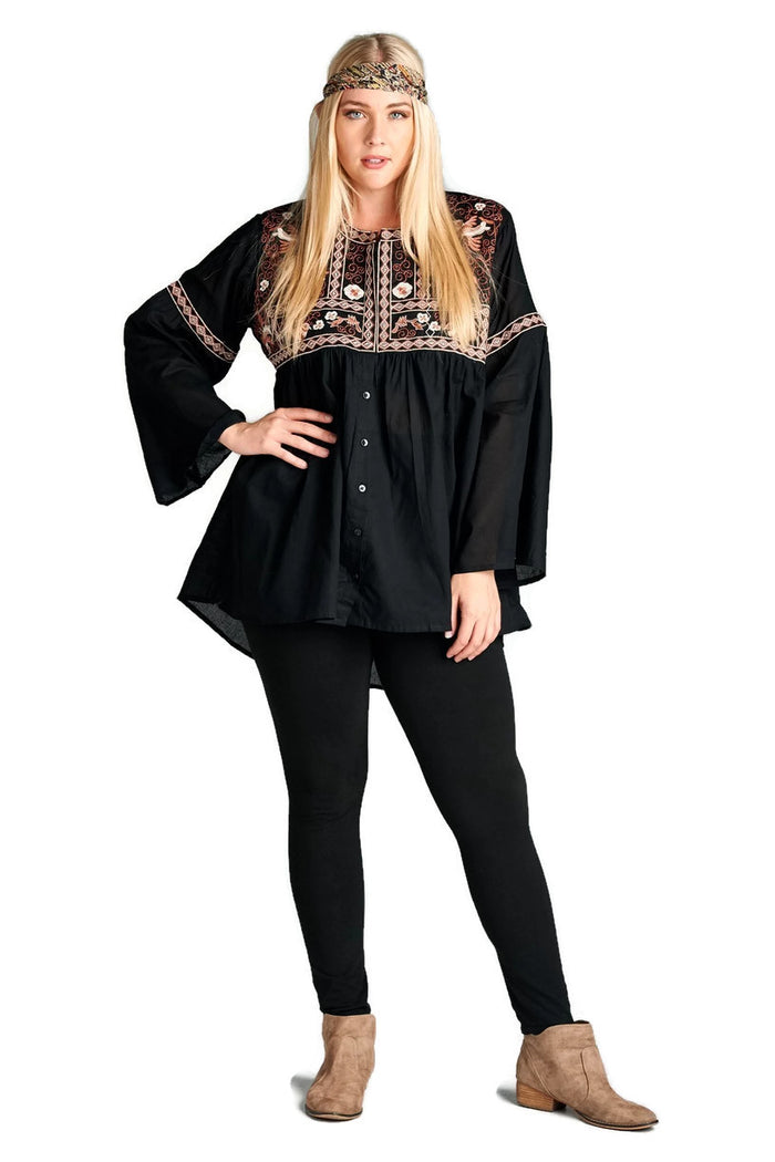 Button Down Embroidered Shirt, Black