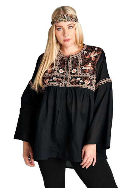 Button Down Embroidered Tunic, Black