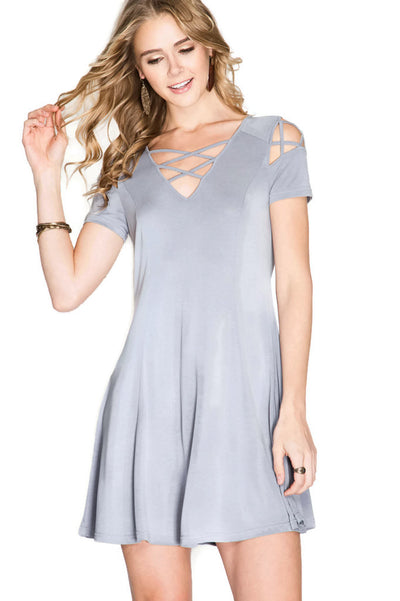 Criss Cross Modal Cupro Swing Dress, Blue Grey