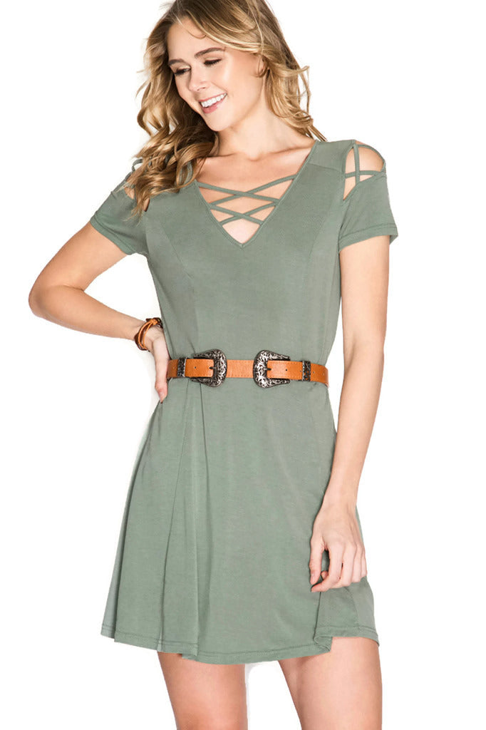 Criss Cross Modal Cupro Swing Dress, Ash Olive