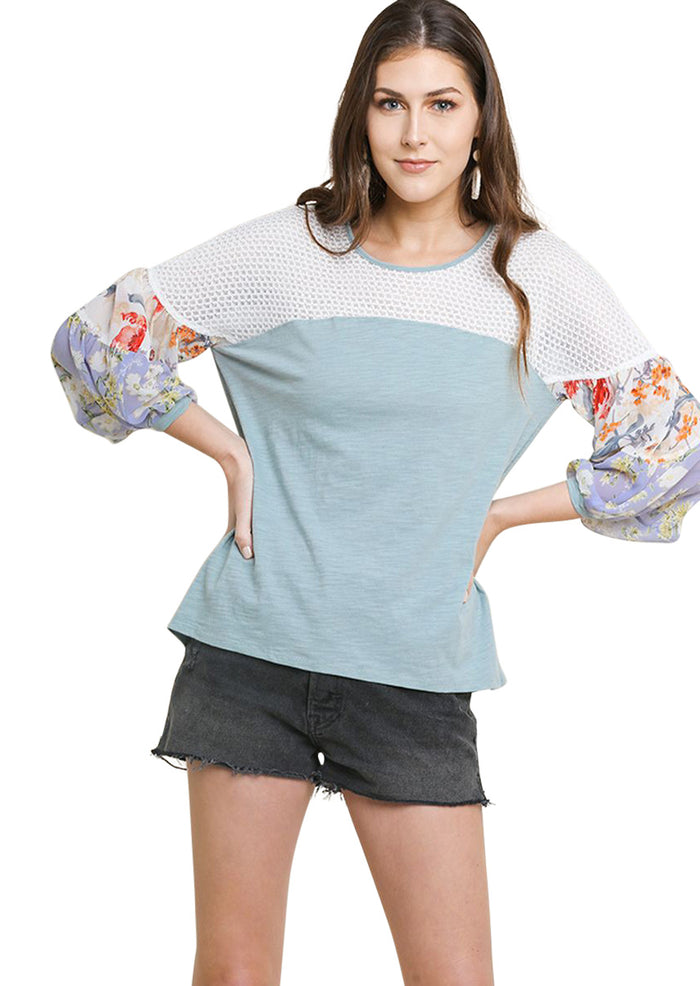 Floral Mixed Print Puff Sleeve Knit Top, Dusty Mint