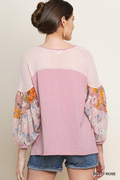 Floral Mixed Print Puff Sleeve Knit Top, Dusty Rose