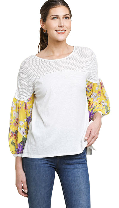 Floral Mixed Print Puff Sleeve Knit Top, Off White