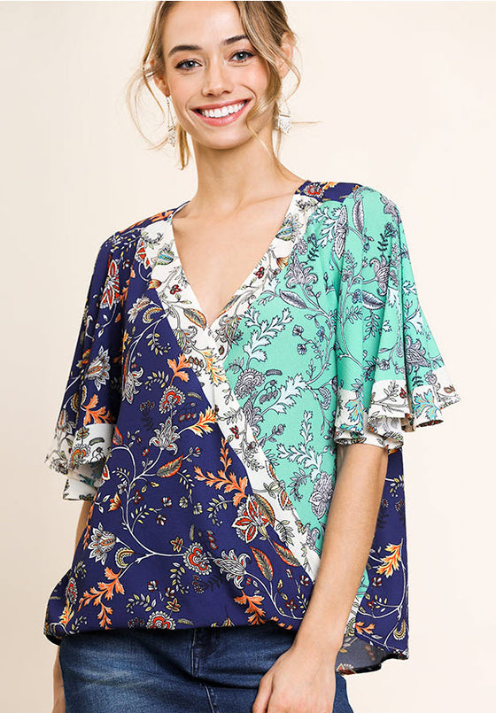 Floral Bell Sleeve Crossbody Top, Navy/Mint
