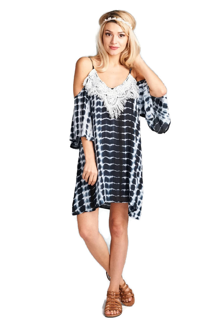 VELZERA TIE DYE FRING COLD SHOULDER MINI DRESS