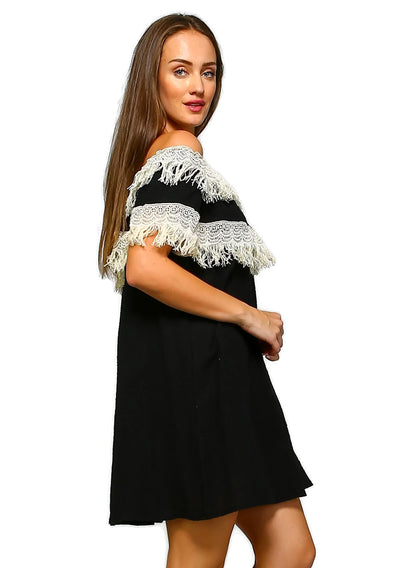 Off the Shoulder Fringe Dress, Black