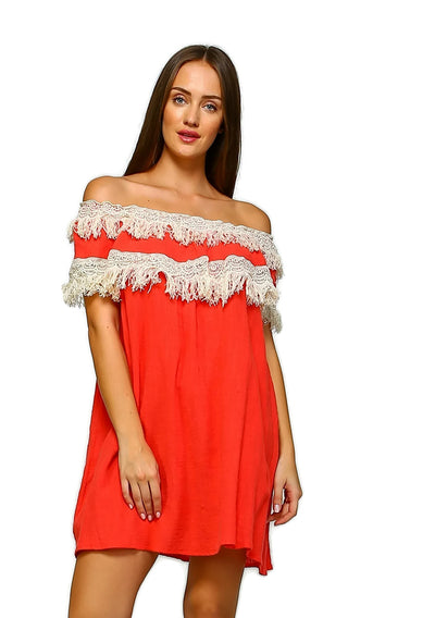 Off the Shoulder Fringe Dress, Coral