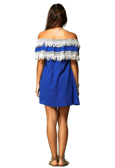 Off the Shoulder Fringe Dress, Blue
