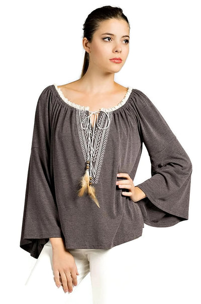 Embroidered Bell Sleeve Knit Top, Charcoal