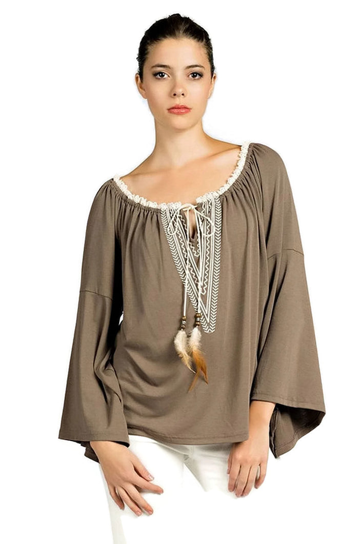 Embroidered Bell Sleeve Knit Top, Mocha