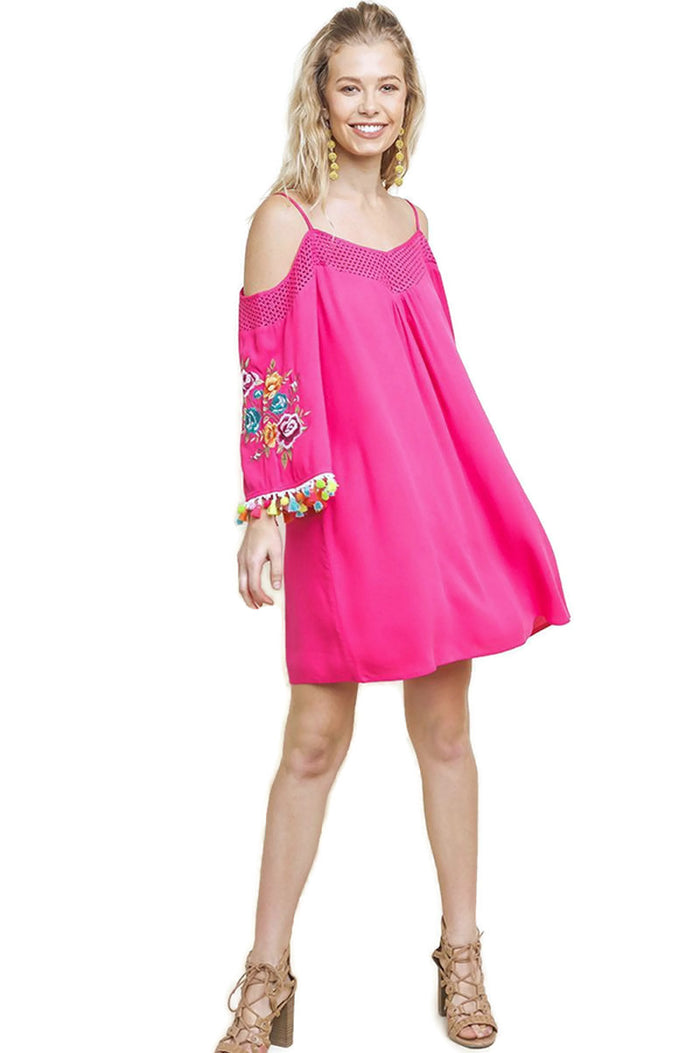 Floral Embroided Pom & Tassel Mini Dress, Pink