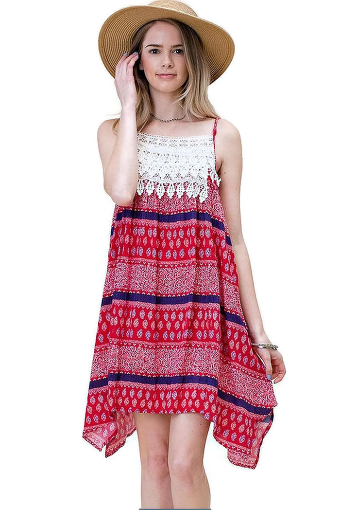 Asymmetrical Aztec Tank Dress, Fuchsia