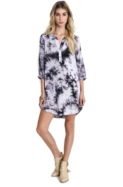 Tie Dye Boyfriend Shirt Dress, Grey