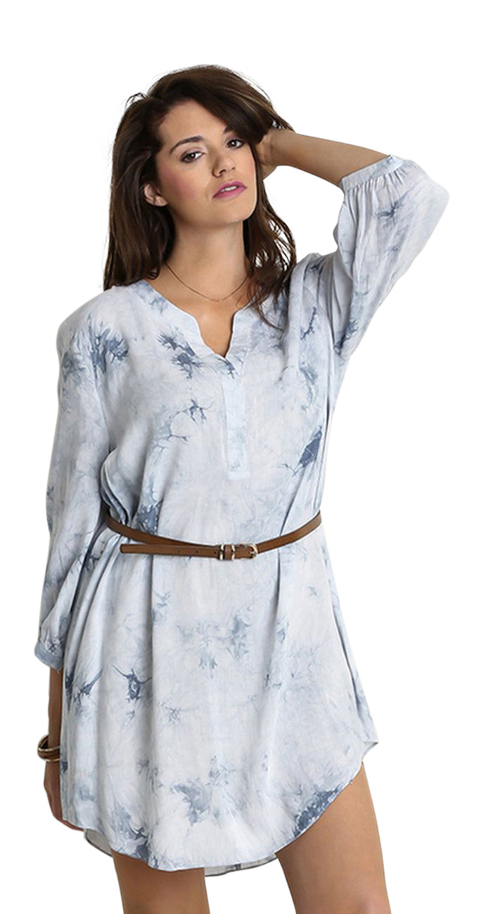 Tie Dye Boyfriend Shirt Dress, Sky