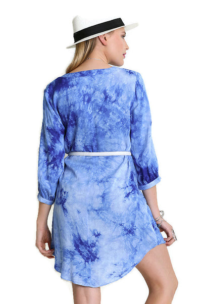 Tie Dye Boyfriend Shirt Dress, Blue