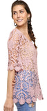 Sheer Floral Crochet Top, Blush