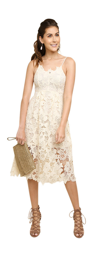Floral Lace Applique Midi Dress, Cream