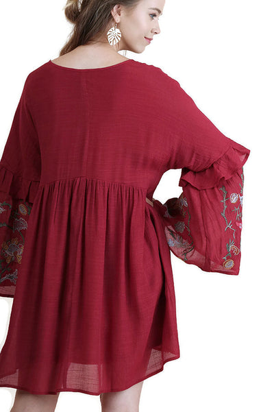 Ruffled Embroidered Keyhole Dress, Red