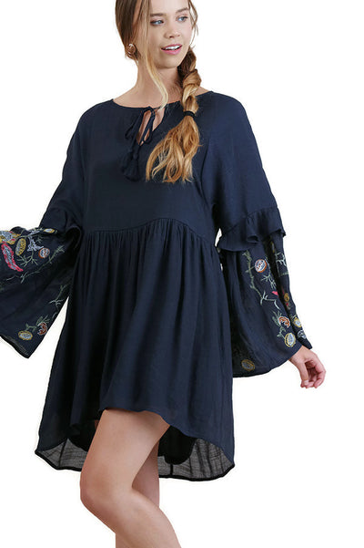 Ruffled Embroidered Keyhole Dress, Navy