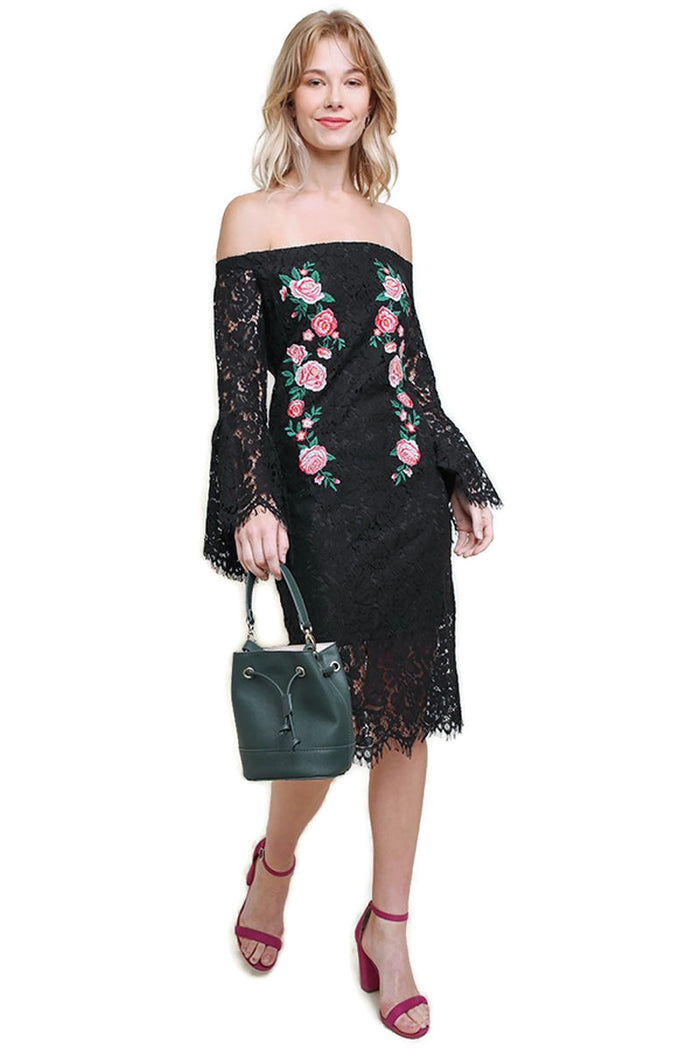 Floral Lace Bell Sleeve Midi Dress