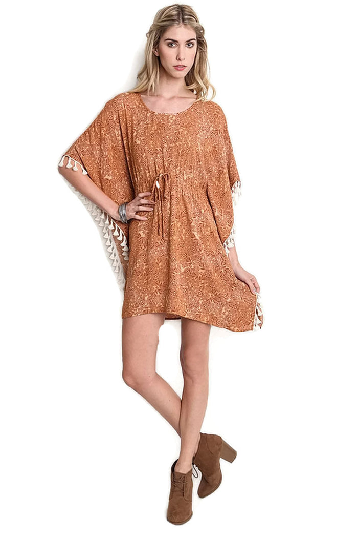 Bohemian Tassel Dress, Brown
