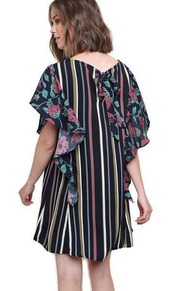 Striped & Floral Ruffle Sleeve Dress, Navy Mix