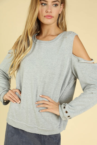 Distressed Grommet Cold Shoulder Top, Heather Gray