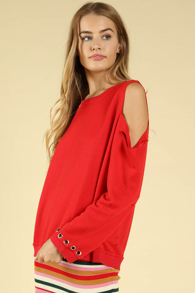 Distressed Grommet Cold Shoulder Top, Red