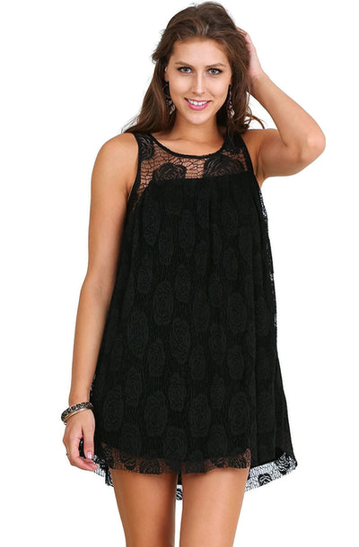 Floral Lace Sleeveless Dress, Black