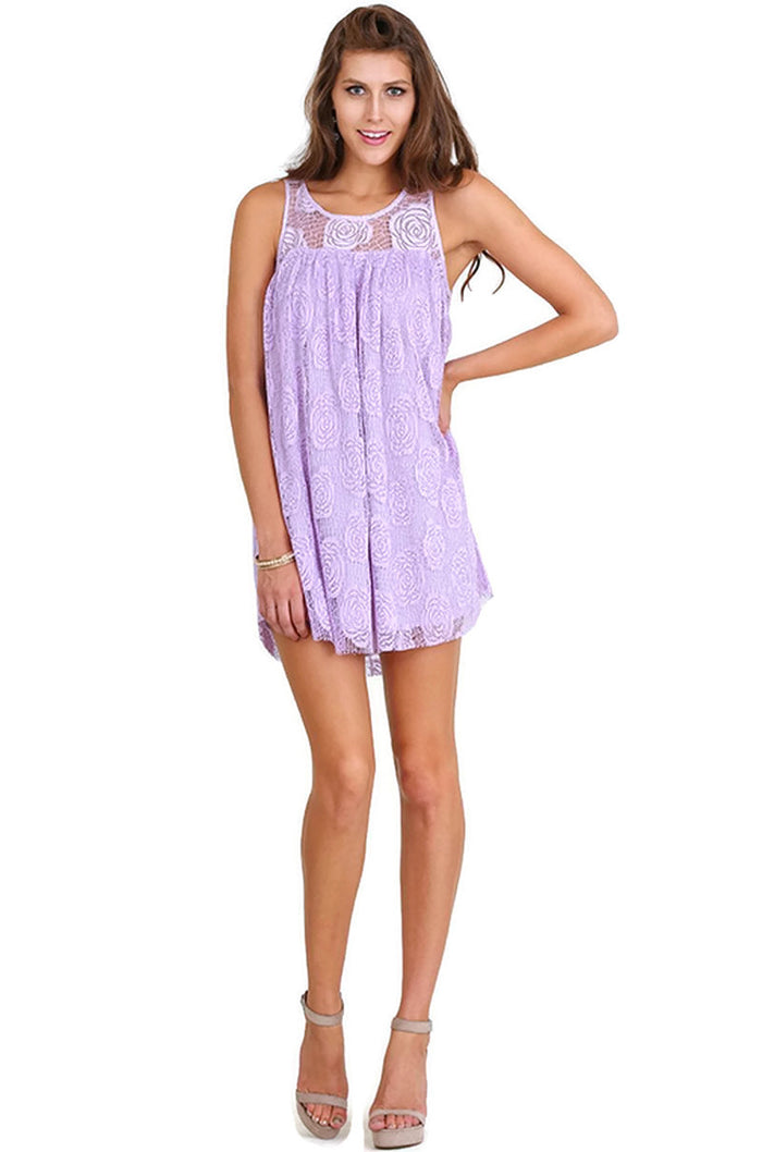 Floral Lace Sleeveless Dress Lavender