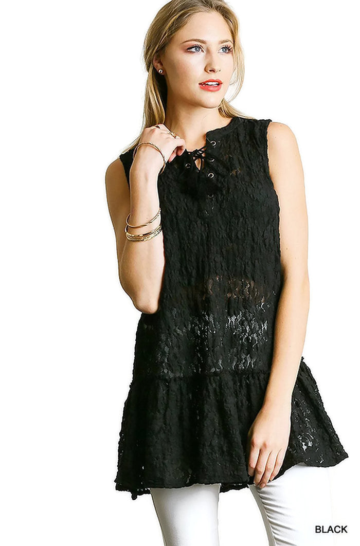 Lace Up Sleeveless Lace Tunic, Black
