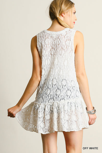 Lace Up Sleeveless Lace Tunic,  White