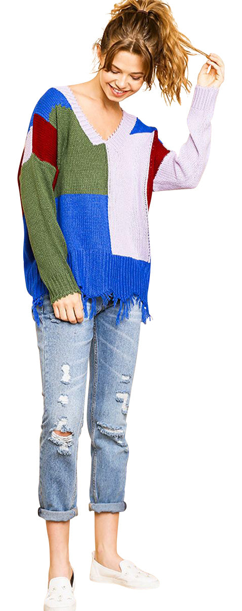 umgee color block frayed hem sweater
