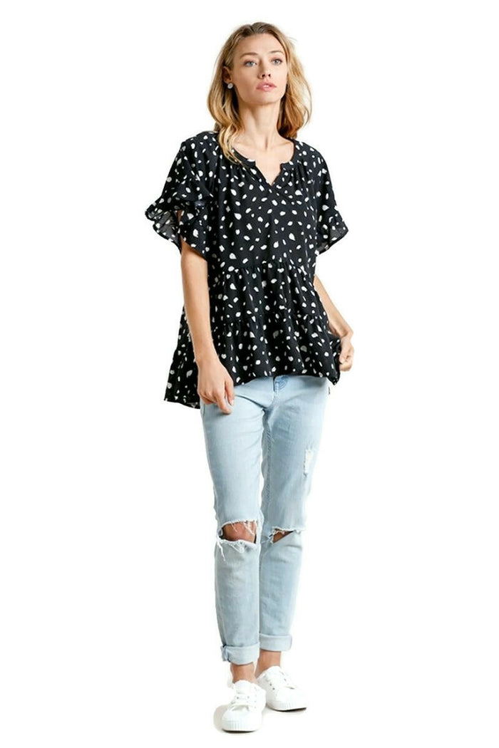UMGEE USA SPOTTED TIERED RUFFLE BLOUSE TOP