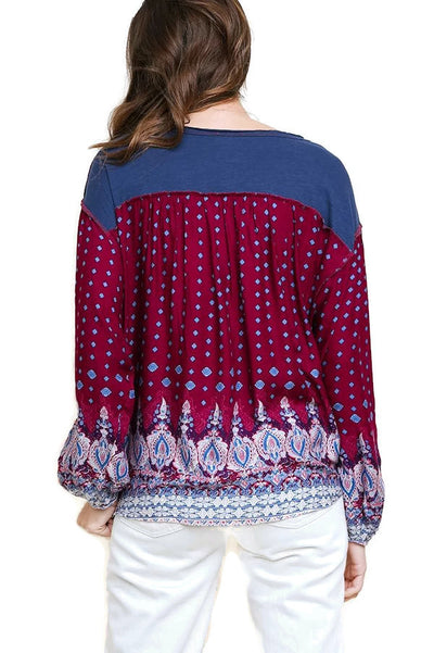 Pretty in Paisley Top, Navy Mix