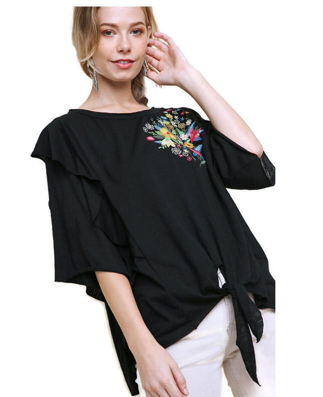 Embroidered Ruffled Sleeve Knot Top