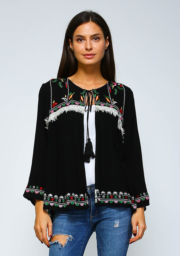 Bohemian Embroidered Fringe Jacket
