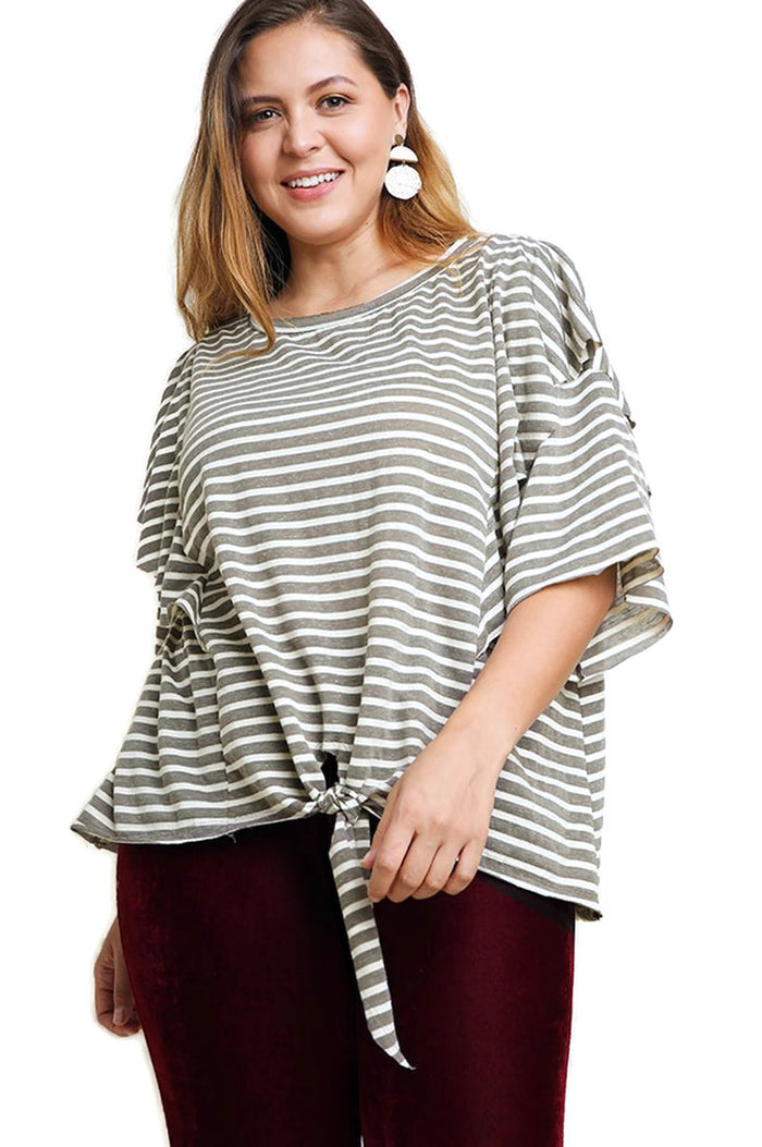 Striped Layered Top, Charcoal