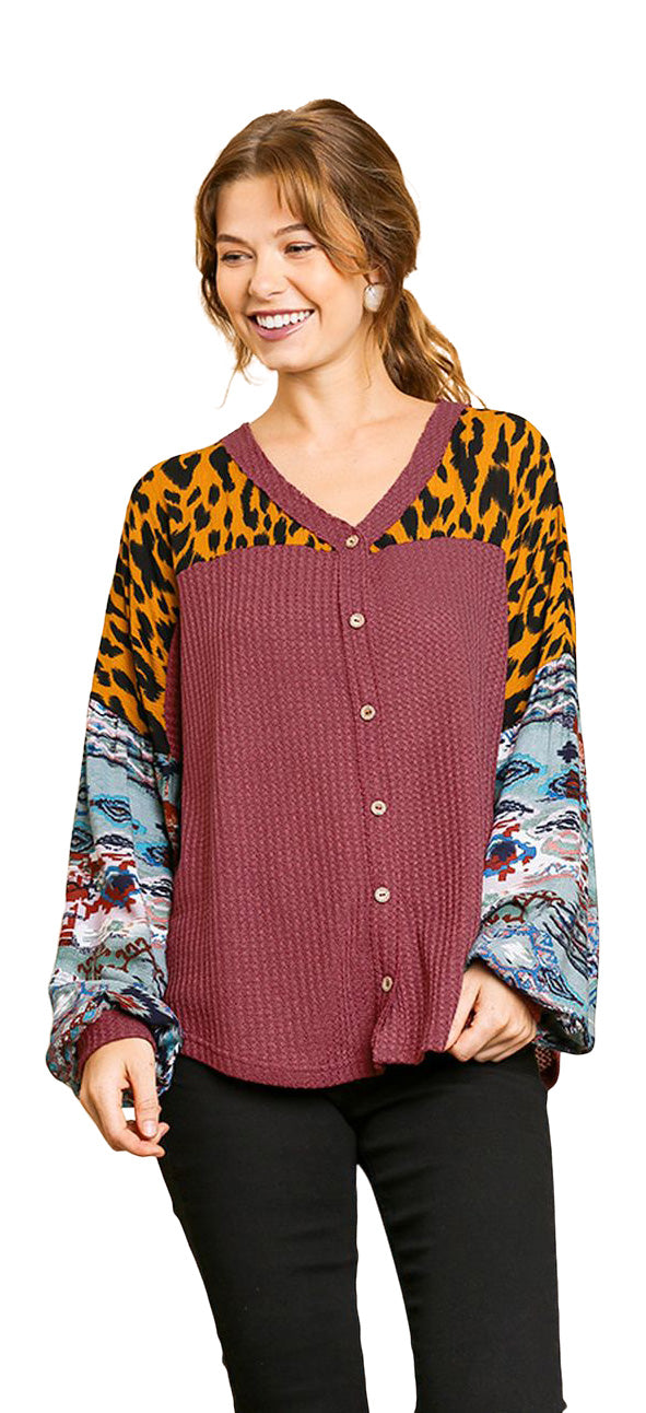 umgee aztec waffle knit top