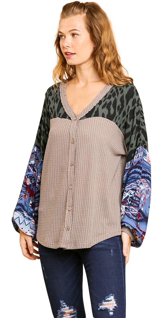 Animal & Aztec Waffle Knit Top, Mocha Gray