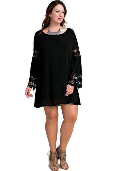 Lace Bell Sleeve Dress, Black