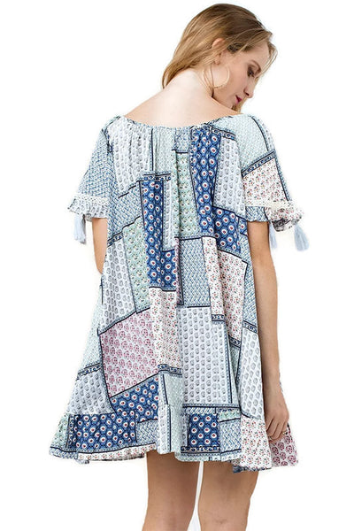 Folklore Tassel Mini Swing Dress, Sea Blue