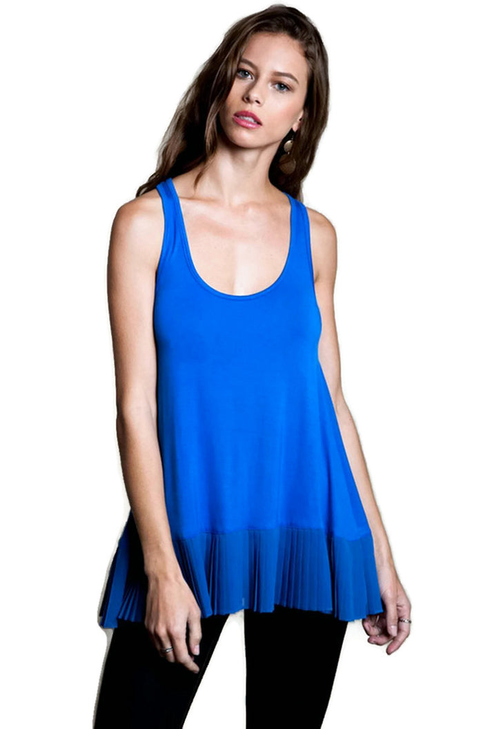 Pleated Tank Top, Cobalt