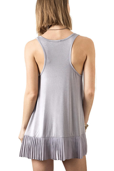 Pleated Tank Top, Silver